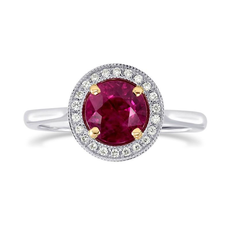 Ruby and Diamond Milgrain Halo Ring, SKU 200541 (1.08Ct TW)