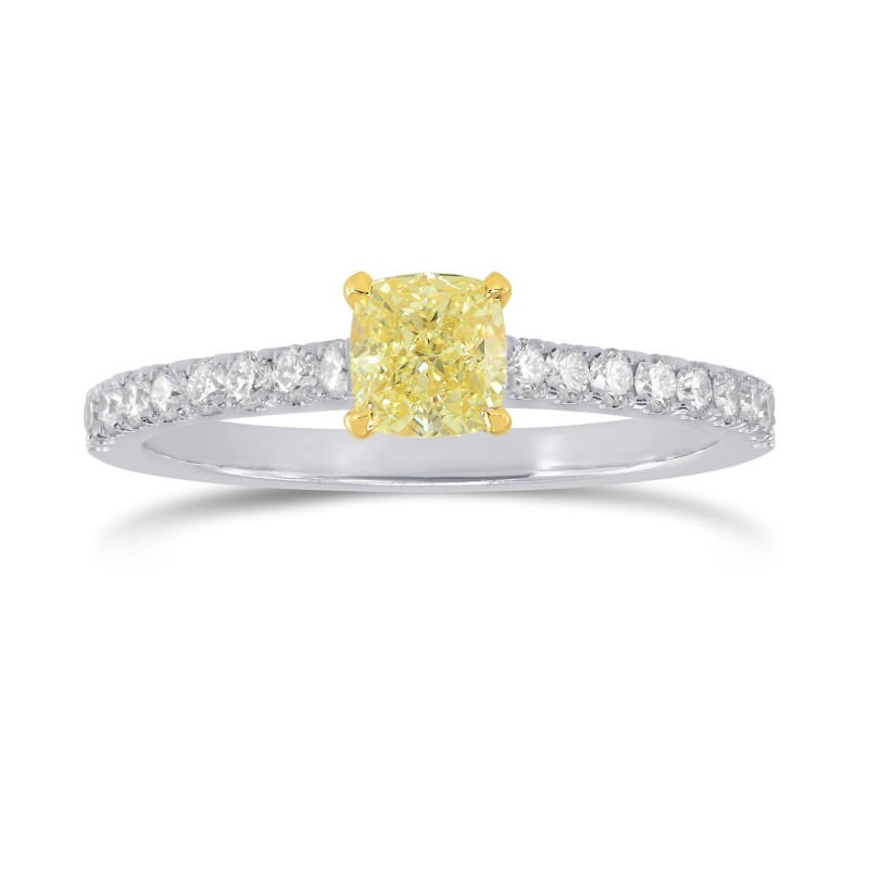 Fancy Yellow Cushion & Pave Diamond Ring, ARTIKELNUMMER 207608 (0,98 Karat TW)