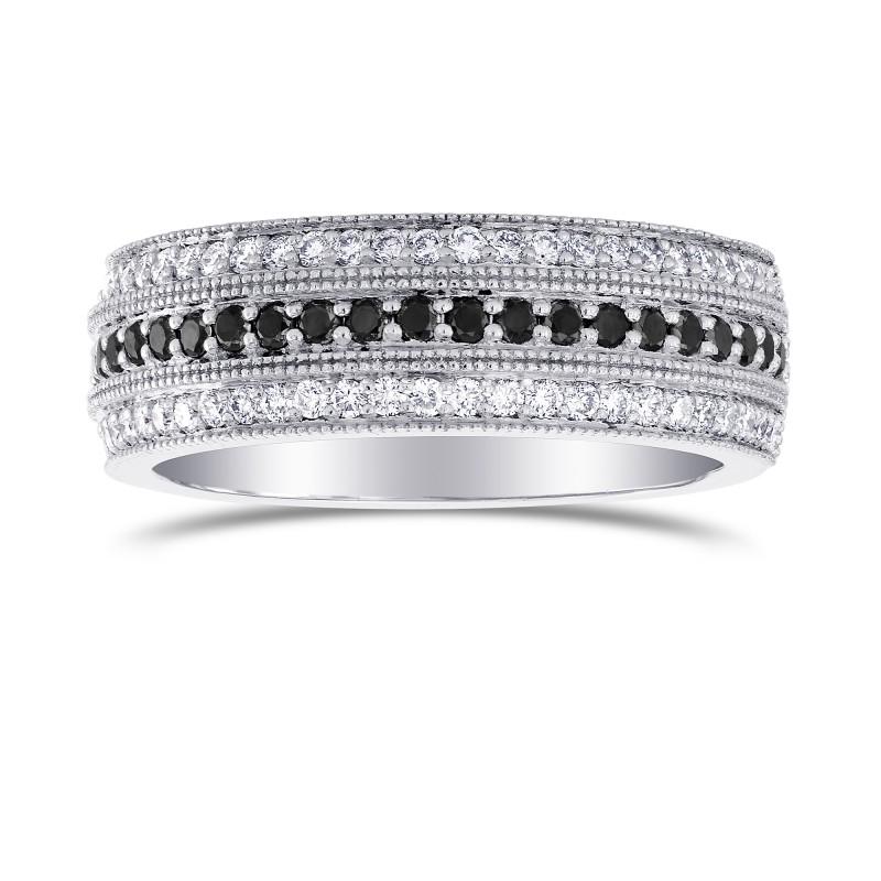 Black Diamond Milgrain Wedding Band Ring SKU 215469 053Ct TW