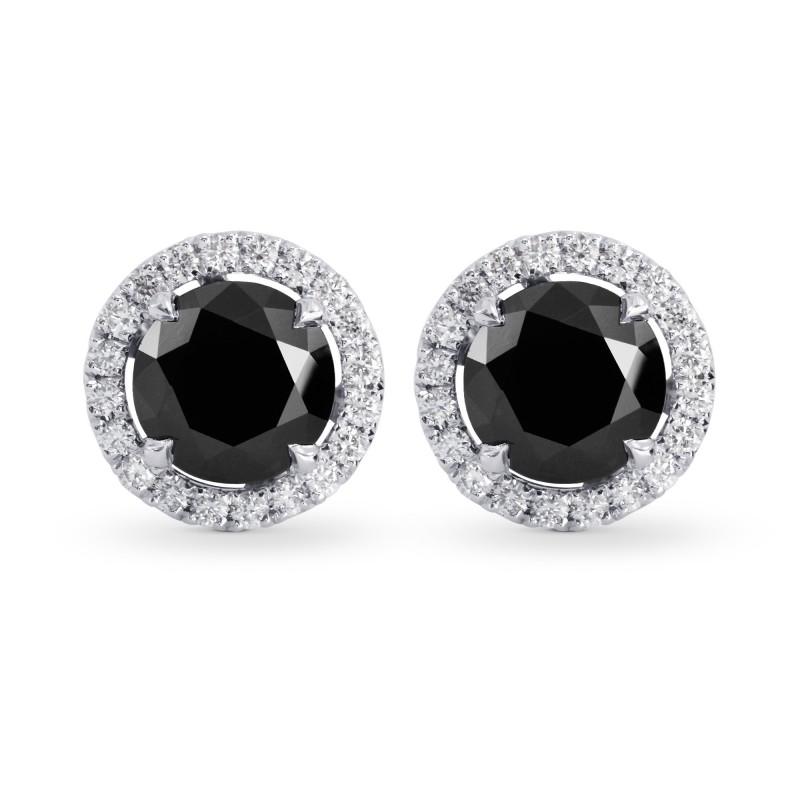 Fancy Black Round Brilliant Diamond Halo Earrings, SKU 223019 (2.85Ct TW)