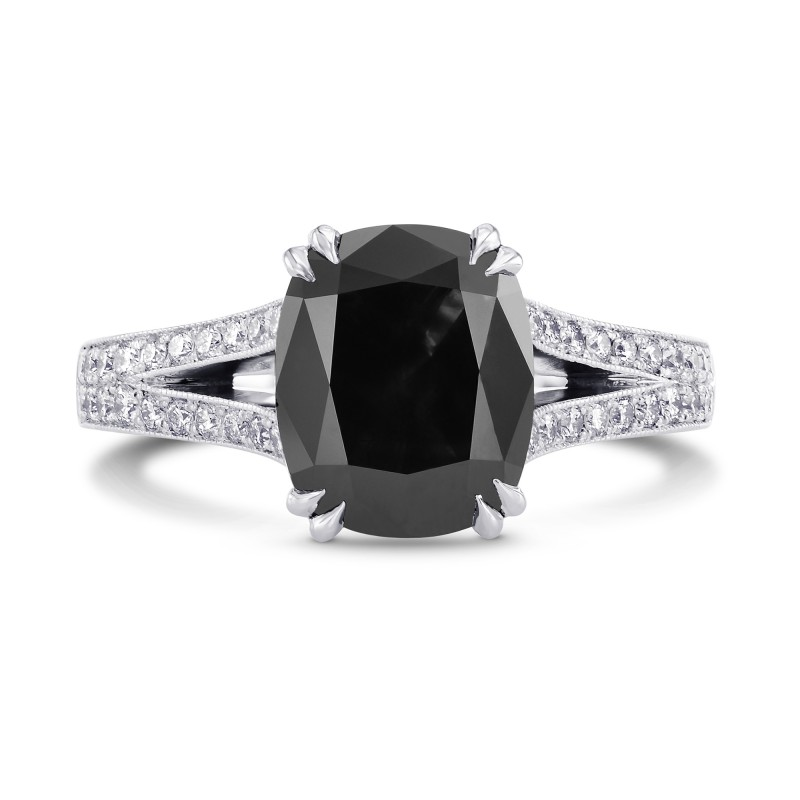 Natural Radiant Fancy Black Pave Diamond Ring Sku 223136 3 31ct Tw