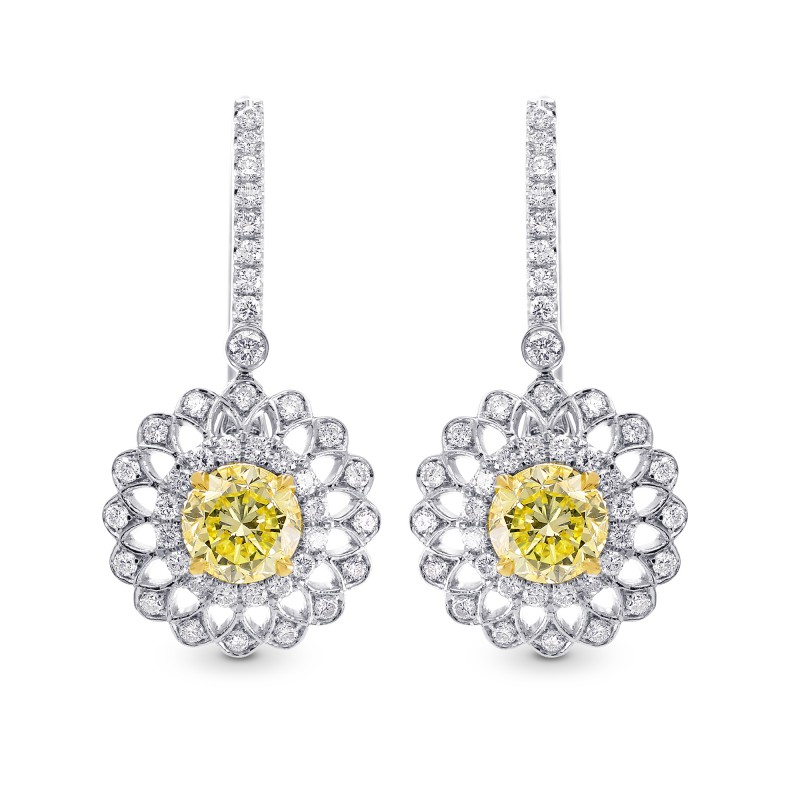 Fancy Yellow Round Brillant Halo Earrings Sku 225029 1 75ct Tw