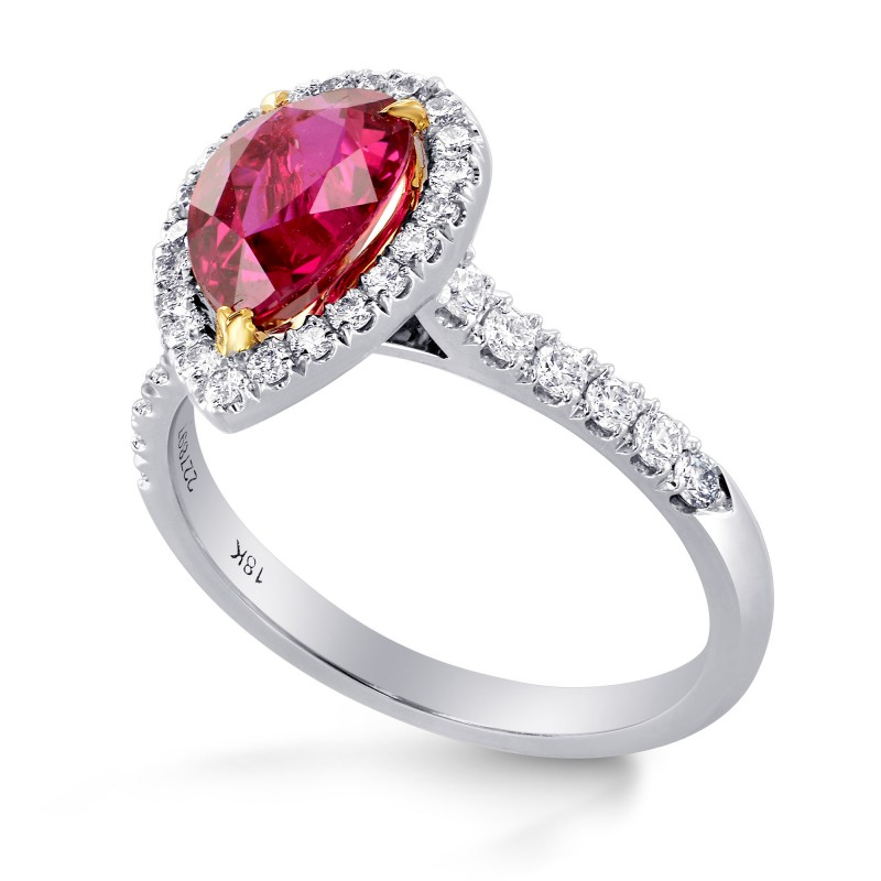 Unheated Pear Ruby and Diamond Halo Ring, SKU 227897 (2.49Ct TW)