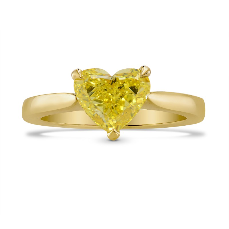 Fancy Intense Yellow Heart Diamond Solitaire Ring, SKU 243782 (1.39Ct)