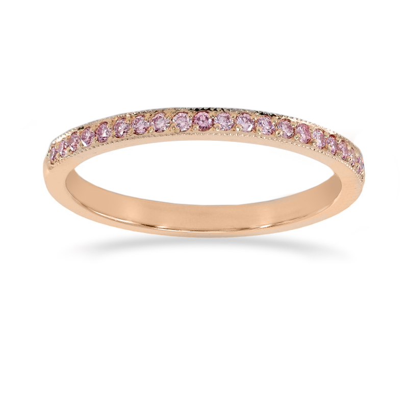 Rose Gold Fancy Light Pink Diamond Half-Eternity Milgrain Wedding Band Ring, SKU 24936R (0.25Ct TW)