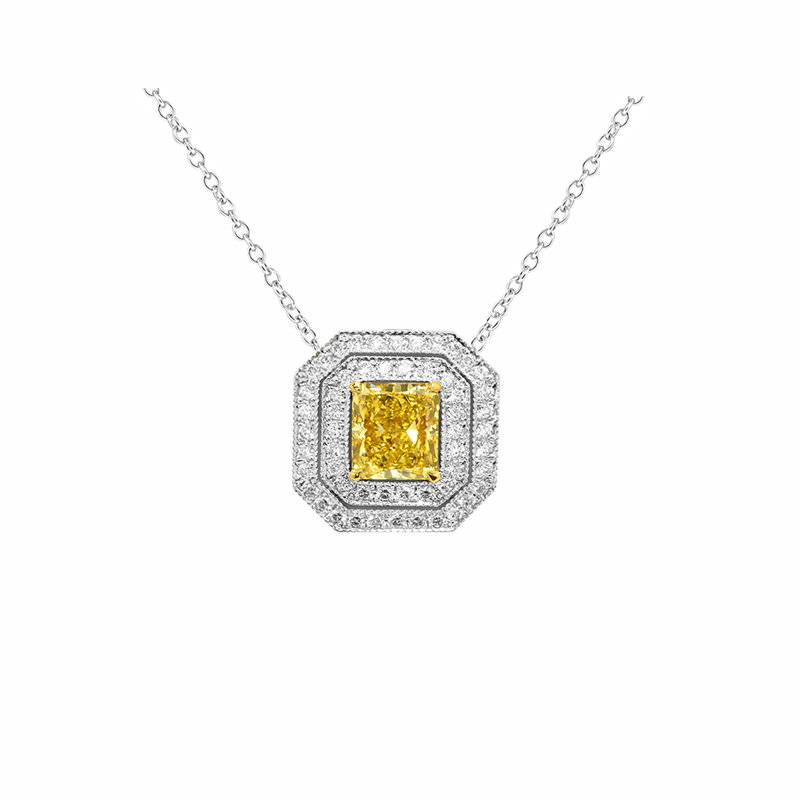 Fancy Intense Yellow Cushion Diamond Cut-corner Pendant, SKU 24954R (0.70Ct TW)