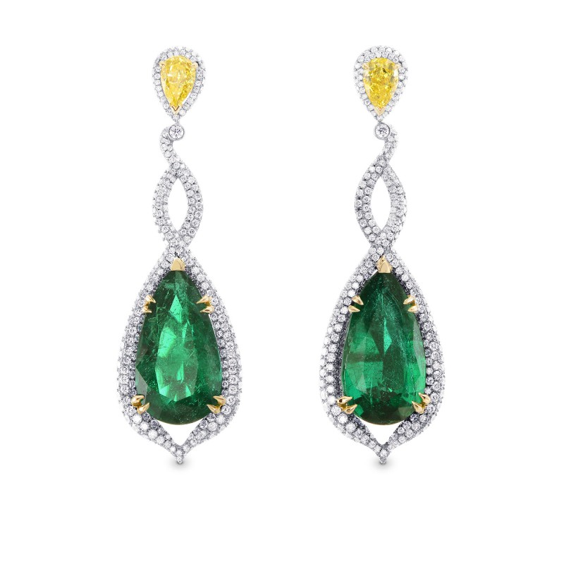 Green Emerald & Canary Yellow Diamond Earrings, SKU 254168 (17.91Ct TW)