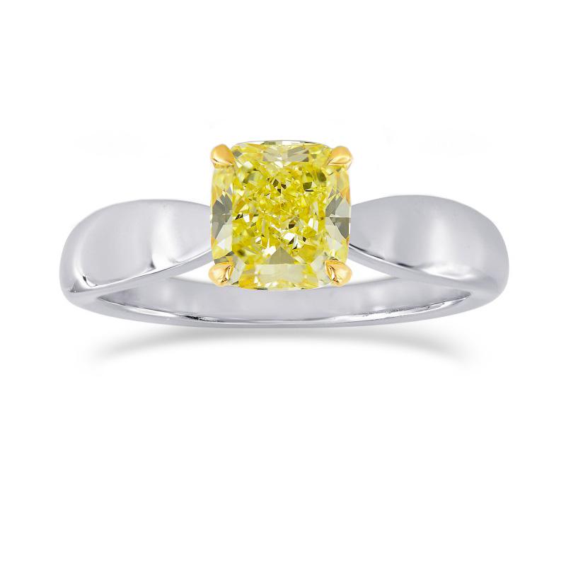 Fancy Intense Yellow Cushion Diamond Bowed Solitaire Ring, ARTIKELNUMMER 25513R (1,00 Karat)