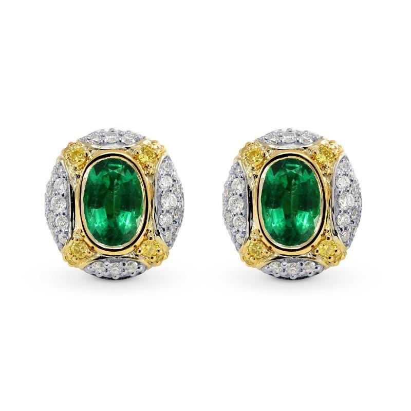 Oval Emerald and Fancy Intense Yellow Diamond Earrings, SKU 26301R (1.25Ct TW)