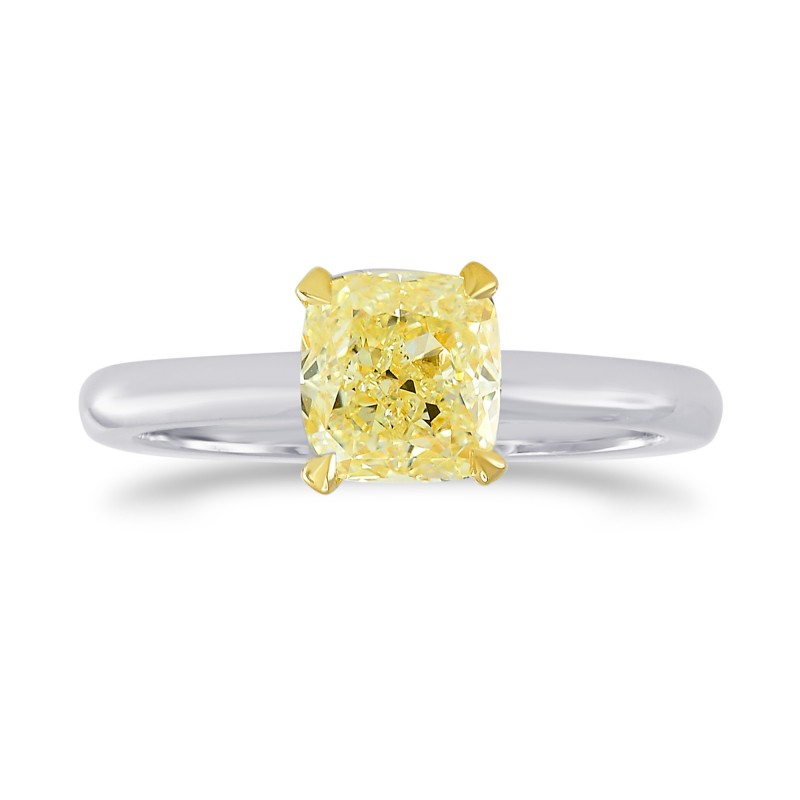 1 Carat Fancy Yellow Cushion Diamond V-Style Solitaire Ring, SKU 26316R (1.00Ct)