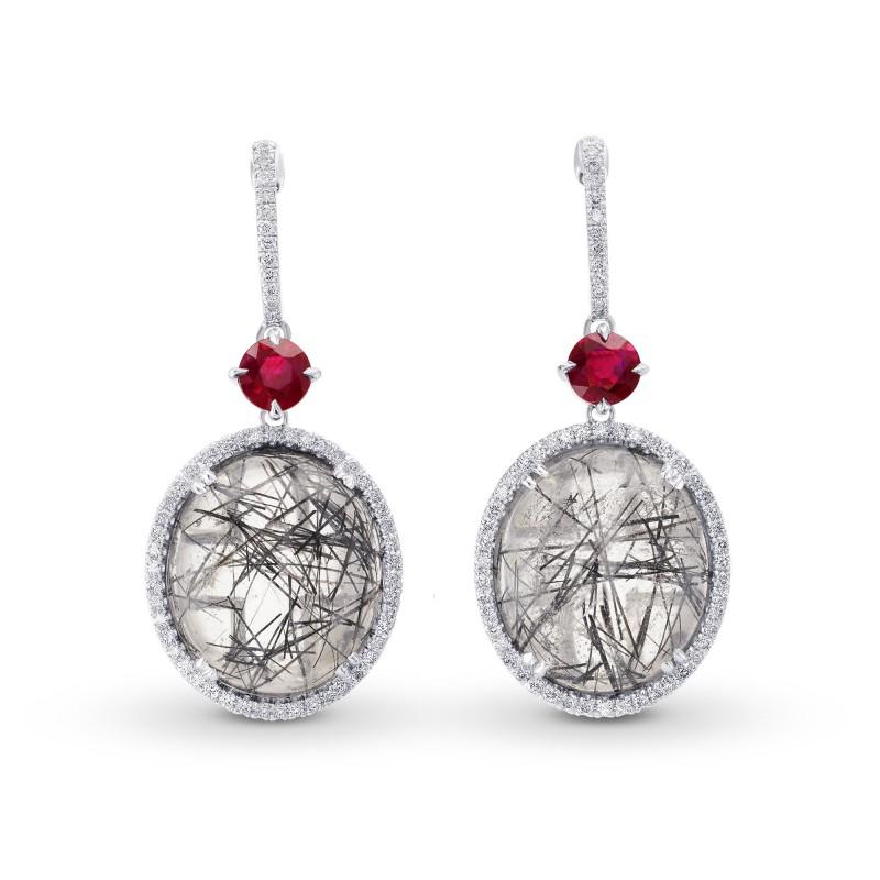Needle Tourmaline, Ruby & Diamond Drop Earrings, SKU 264118 (22.64Ct TW)