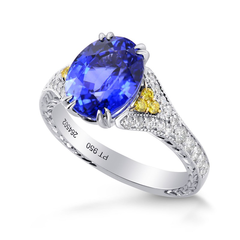 Vintage Style Oval Sapphire &  Yellow Diamond Ring, SKU 264502 (4.59Ct TW)