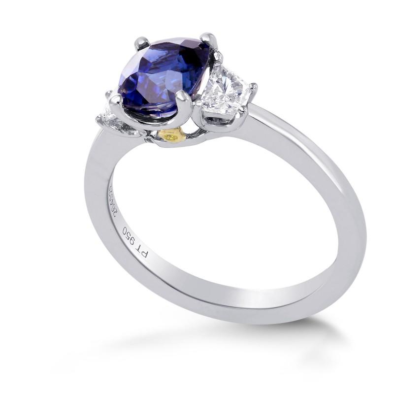 Unheated Sapphire Cushion & Trapezoid Diamond Ring with Yellow Diamond Accent, SKU 264522 (2.16Ct TW)