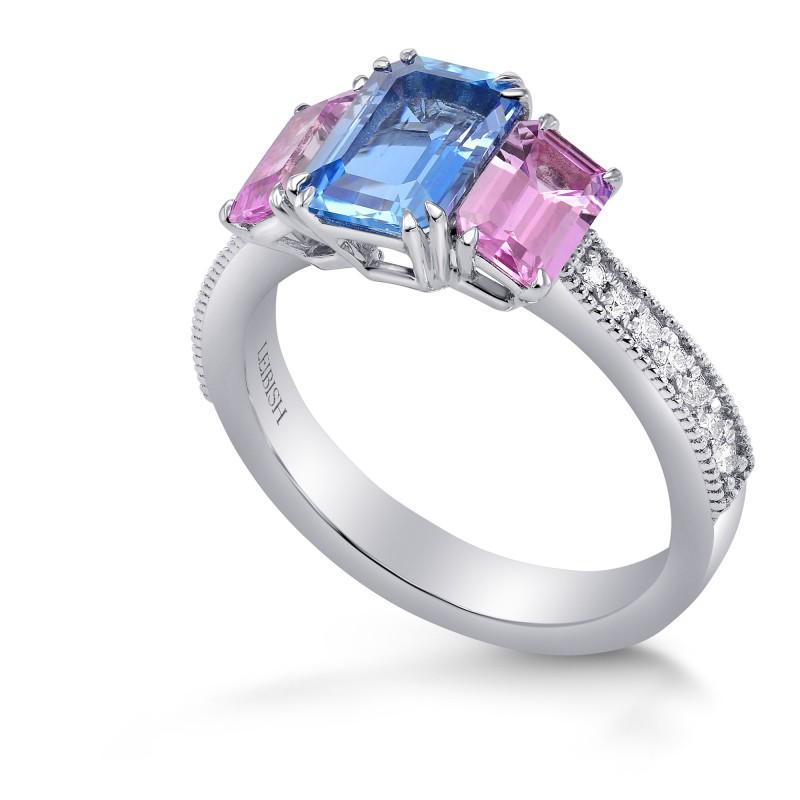 Aquamarine & Pink Sapphire Diamond Ring (2.44Ct TW)