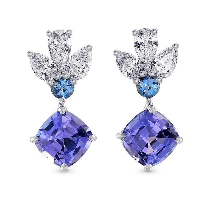 Tanzanite Cushion, Aquamarine & Diamond Drop Earrings, SKU 266540 (2.84Ct TW)