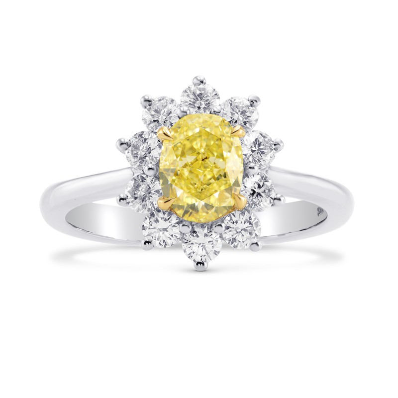 Fancy Yellow Oval Diamond Halo Ring, SKU 266850 (1.59Ct TW)