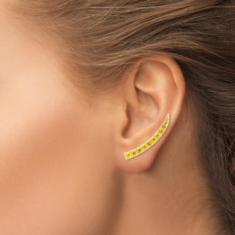 Fancy Vivid Orange Yellow Pave Diamond Earrings, SKU 266980 (0.65Ct TW)