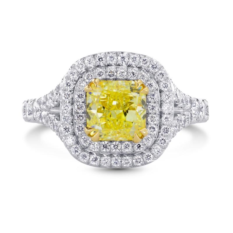 2 Carat Fancy Intense Yellow Cushion Diamond Double Halo Ring, SKU 26728R (2.75Ct TW)