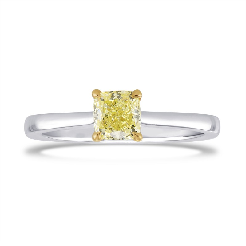 0.70 Carat Fancy Yellow Cushion Diamond Solitaire Ring, SKU 26791R (0.70Ct)