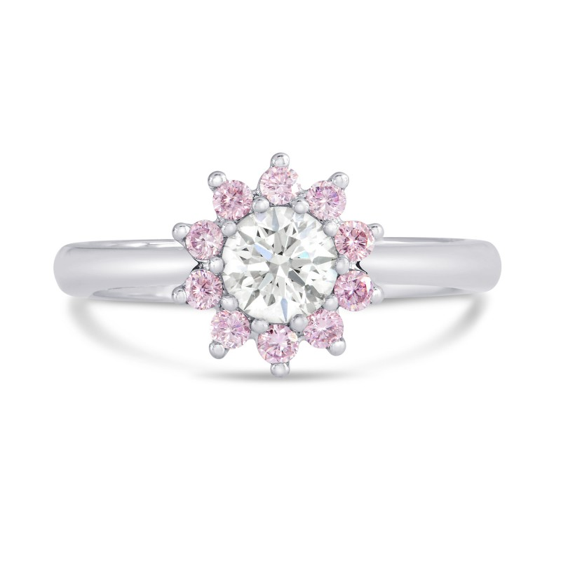 Gia White And Pink Diamond Enement Halo Ring Sku 27001r 0 70ct Tw