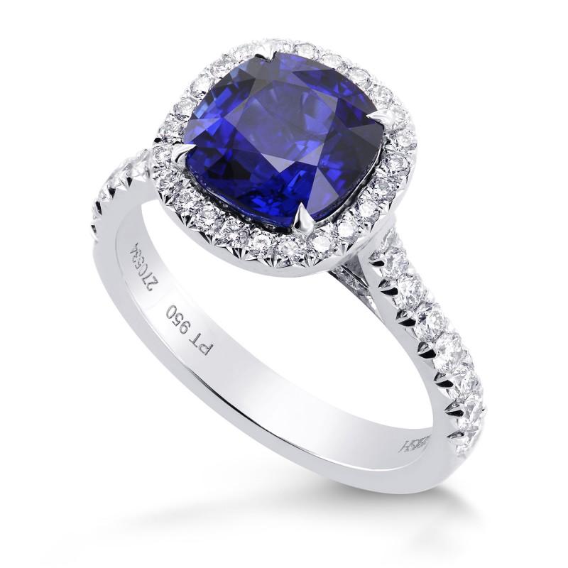 Royal Blue Cushion Sapphire & Diamond Halo Ring, SKU 270534 (3.85Ct TW)