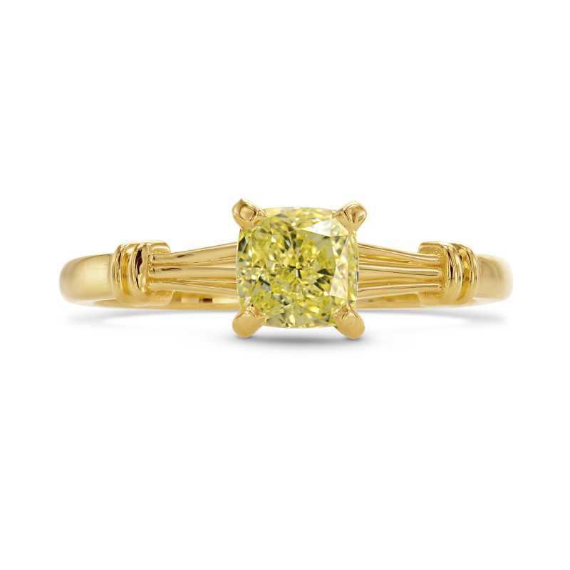 Fancy Yellow Cushion Diamond Solitaire Ring, SKU 27290R (0.70Ct)