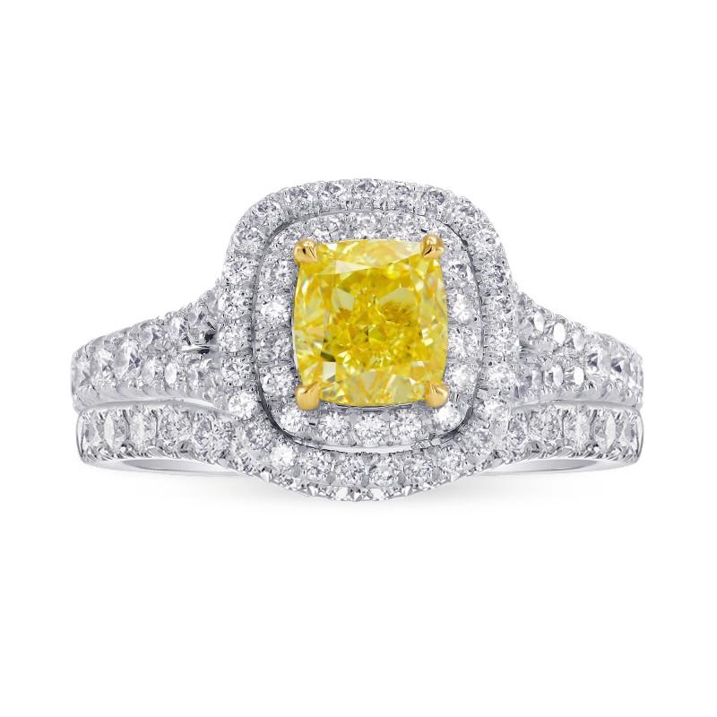 Fancy Intense Yellow Cushion Diamond Double Halo Engagement & Wedding Ring Set, ARTIKELNUMMER 27459R (1,85 Karat TW)
