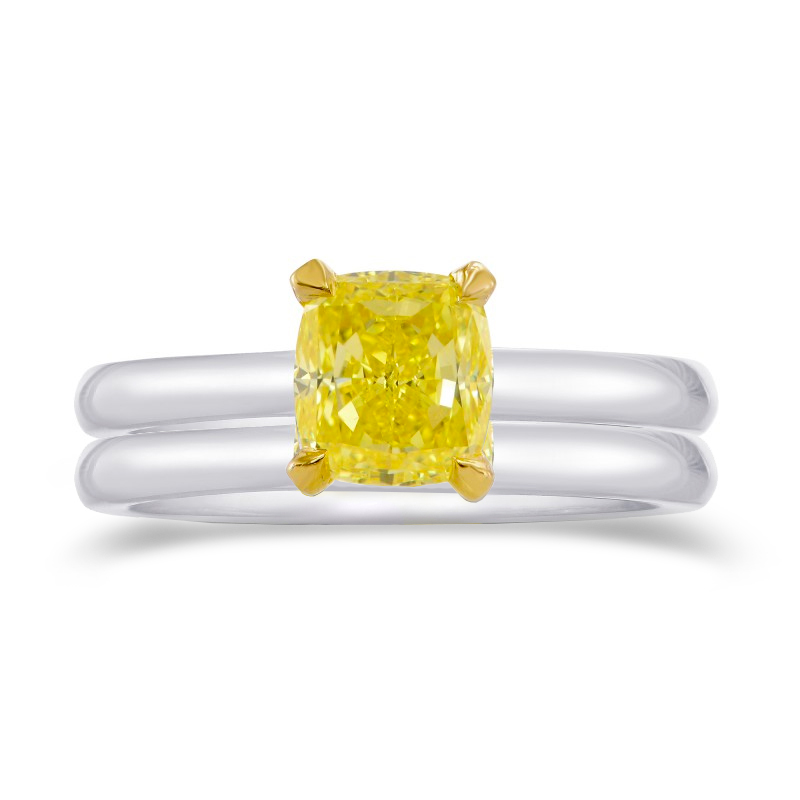 Intense Yellow Cushion Diamond Solitaire Engagement Wedding Ring