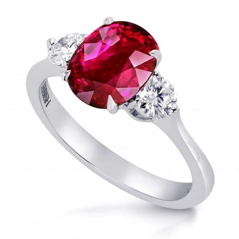 Unheated Ruby & Diamond 3 Stone Ring, SKU 27651R (1.87Ct TW)