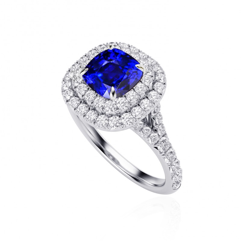 Royal Blue Sapphire & Diamond Engagement Ring, SKU 27653R (3.56Ct TW)