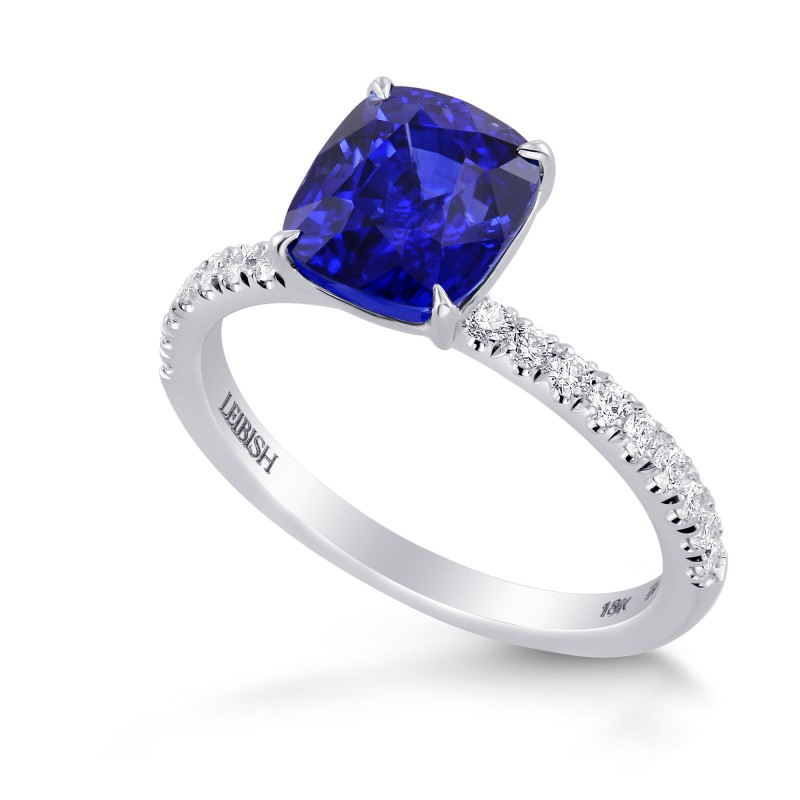Royal Blue Sapphire Cushion & Diamond Ring, SKU 278769 (2.93Ct TW)