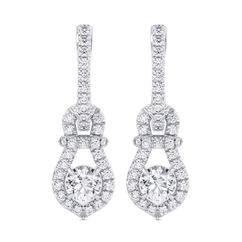 Round Brilliant Halo Diamond Drop Earrings, SKU 28027R (1.54Ct TW)