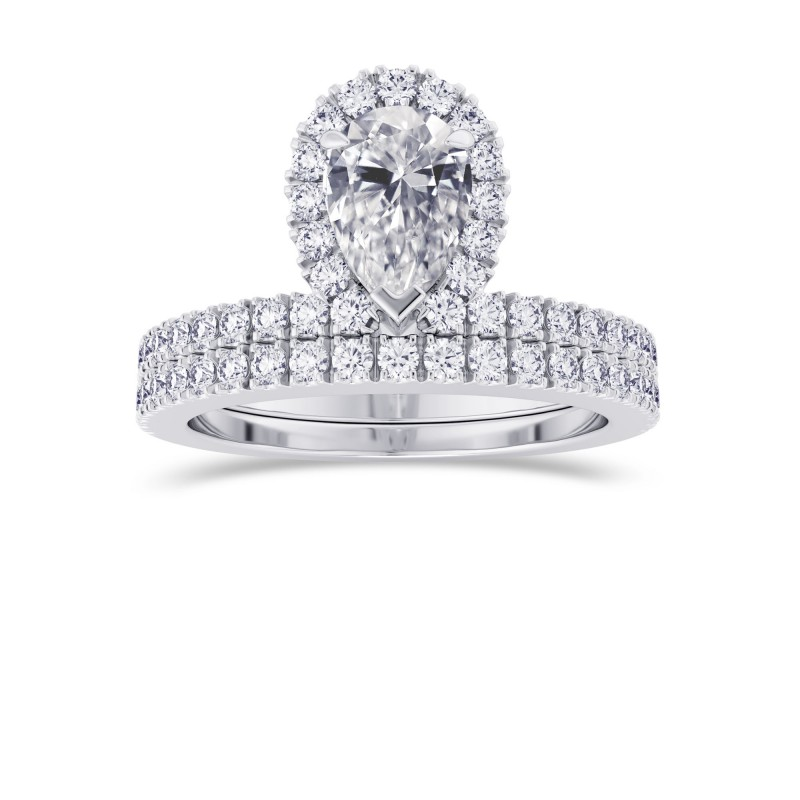 Pear Shaped Halo Diamond Engagement Ring & Wedding Band Set, SKU 28088R (1.20Ct TW)