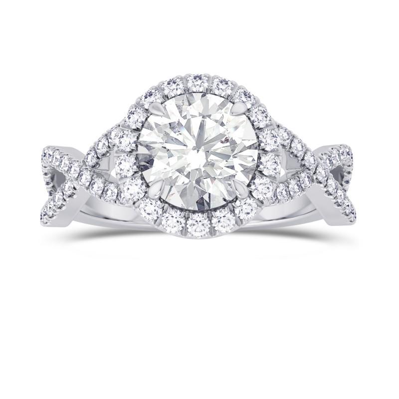 GIA Round Diamond Cross-over Halo Ring, SKU 28100R (1.95Ct TW)