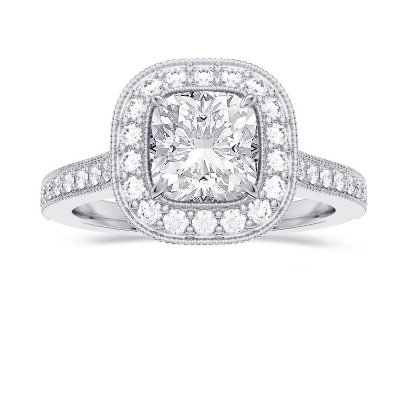 GIA Cushion Vintage Style Milgrain Halo Diamond Ring, SKU 28105R (1.30Ct TW)