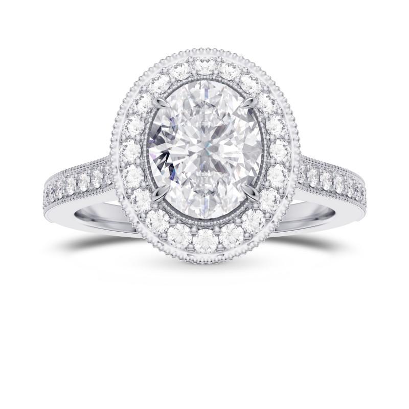 GIA Oval Diamond Style Milgrain Halo Diamond Ring, SKU 28106R (1.30Ct TW)