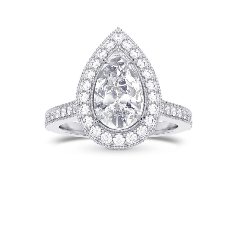 GIA Pear Shape  Vintage Style Milgrain Halo Diamond Ring, SKU 28109R (1.30Ct TW)