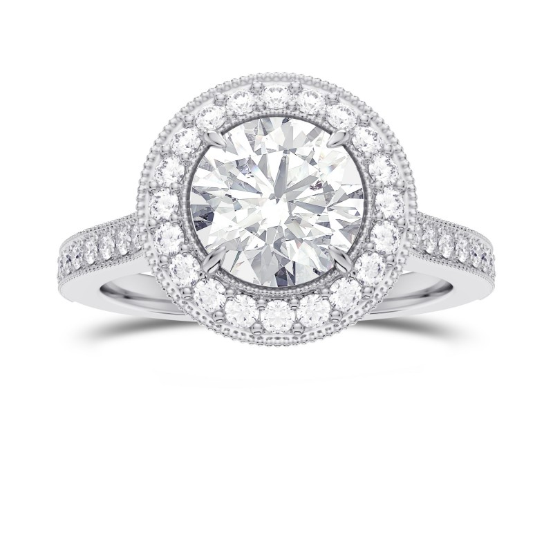 GIA Round Brilliant Diamond Vintage Style Milgrain Halo Diamond Ring, SKU 28110R (1.30Ct TW)