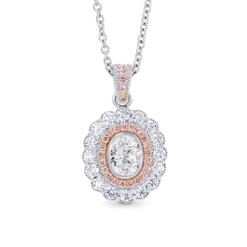 Oval diamond scalloped halo pendant sku 28116r 097ct tw aloadofball Choice Image
