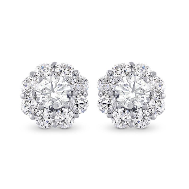 Round Brilliant Diamond Halo Earrings, SKU 28119R (2.30Ct TW)