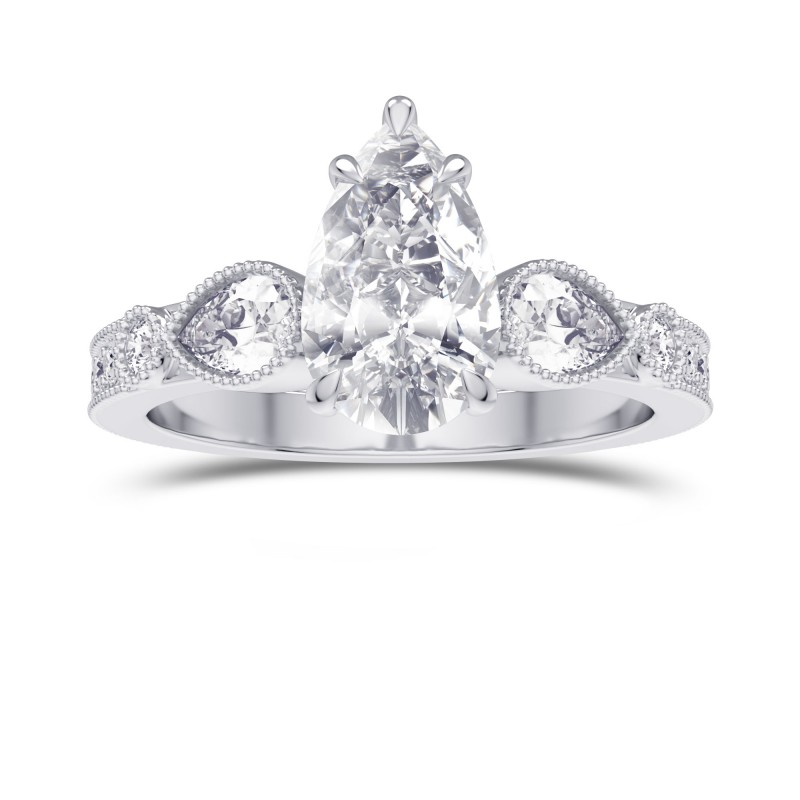 GIA Pear Accent Side Stone Diamond Ring, SKU 28122R (2.40Ct TW)
