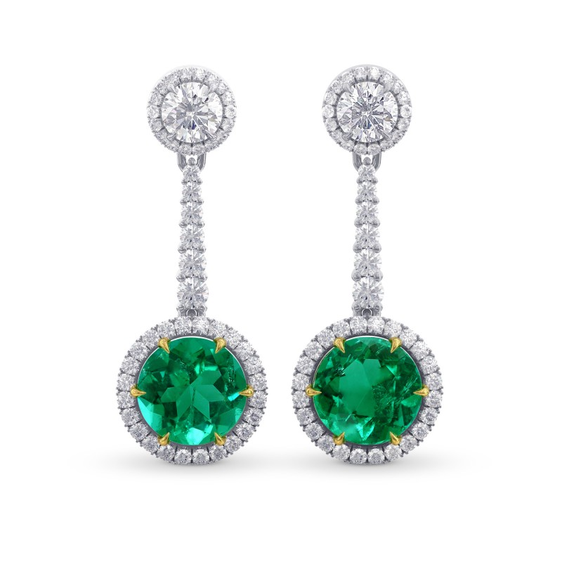 Emerald Gemstone & White Diamond Drop Earrings, SKU 28145L (6.04Ct TW)