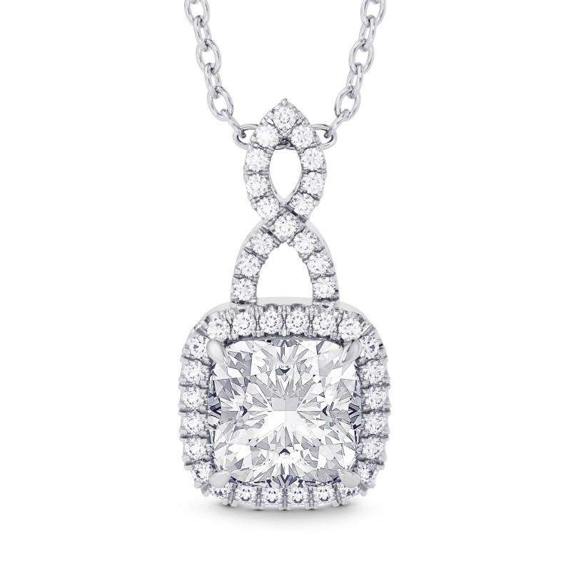 1.50ct  GIA Cushion Diamond Halo & Drop Pendant, SKU 28159R (1.68Ct TW)