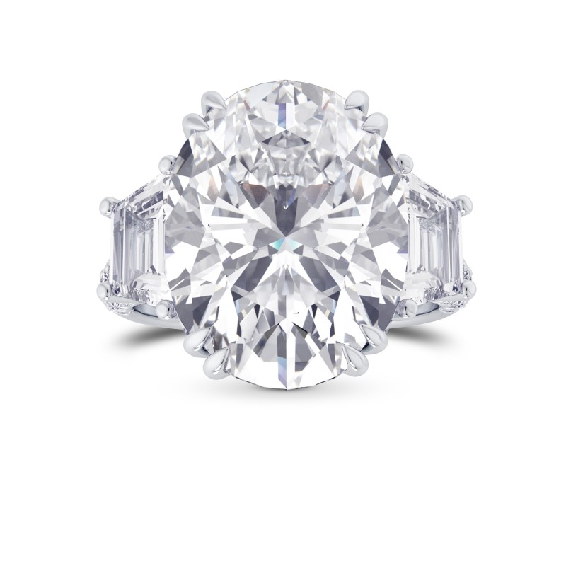 Oval and Trapezoid Diamond Side Stone Ring, SKU 28161R (4.00Ct TW)