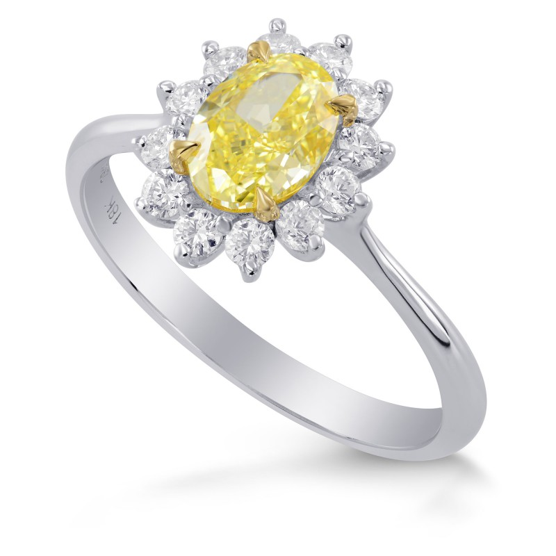 Fancy Yellow Oval Diamond Engagement Ring, SKU 284245 (1.35Ct TW)