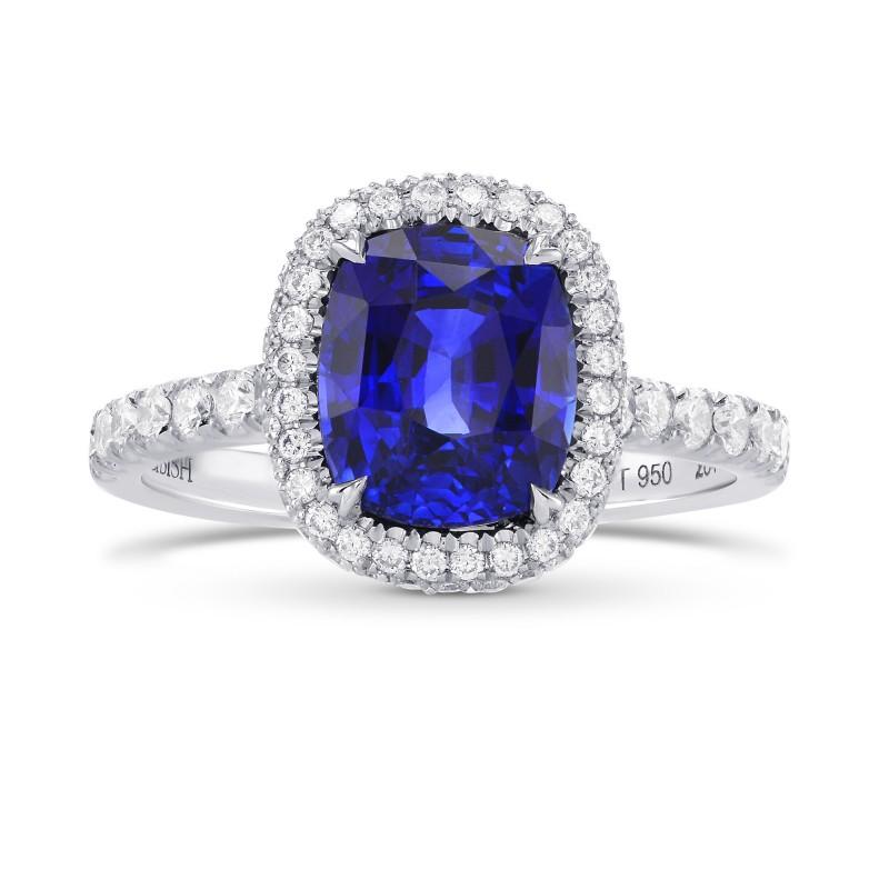 Vivid Blue Sapphire & Diamond Halo Engagement Ring, SKU 284779 (3.79Ct TW)