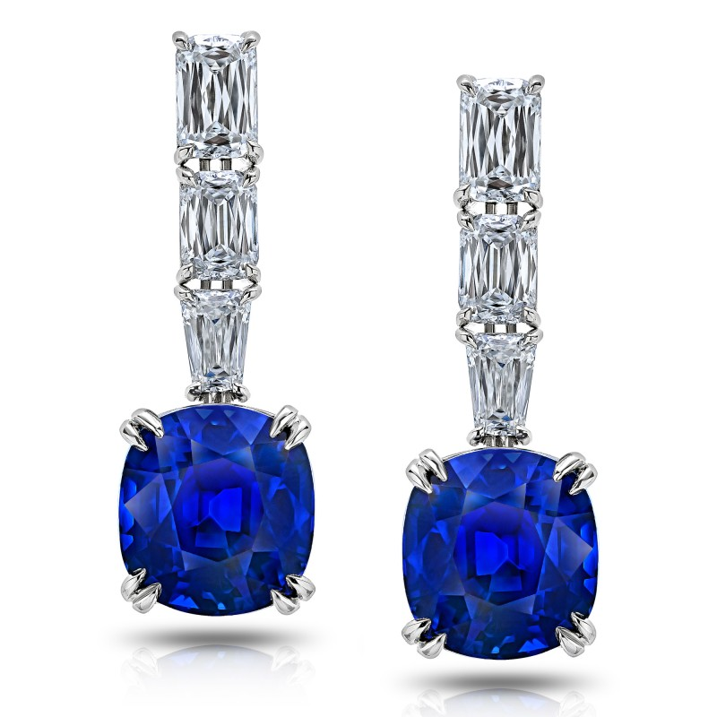 Blue Cushion Sapphire and Diamond Drop Earrings, SKU 28668V (14.39Ct TW)