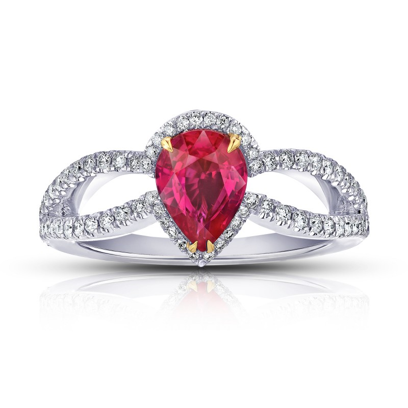 1.42 Carat Pear Shape Ruby and Diamond Platinum Ring, SKU 28706V (1.87Ct TW)