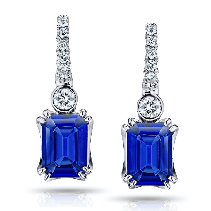 2.19 Carat Emerald Cut Blue Sapphire and Diamond Earrings, SKU 28711V (2.38Ct TW)