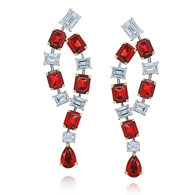 Emerald Cut Ruby and Diamond Earrings, SKU 28742V (8.56Ct TW)